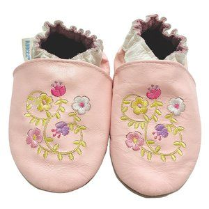 Robeez Pink Floral Leather Soft Sole Moccasins